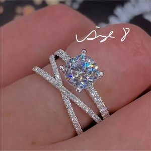 White gold filled wedding ring/engagement ring